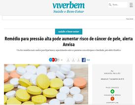 Entrevista Gazeta do Povo: relação entre remédio para pressão alta e o risco de câncer de pele